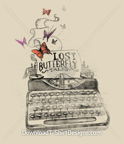 Lost Butterfly Tales Typewriter