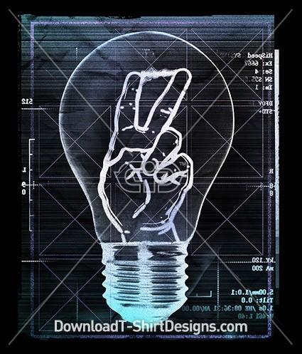 Neon Light Bulb Peace Sign Hand