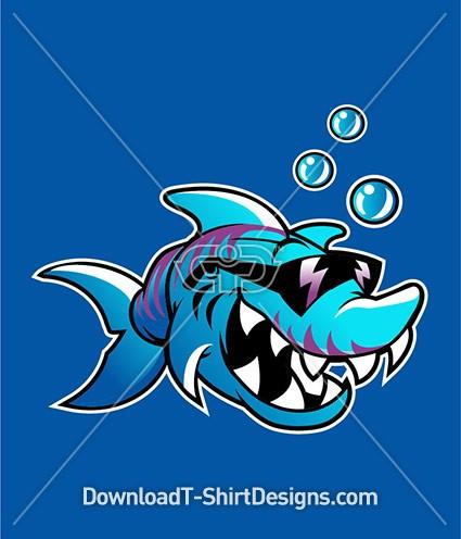 Cool Tough Blue Shark Sunglasses Character