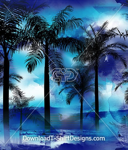 Tropical Palms Blue Ocean Surfer Seamless Pattern