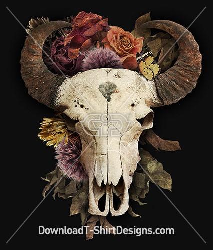 Vintage Flower Bison Animal Horned Skull