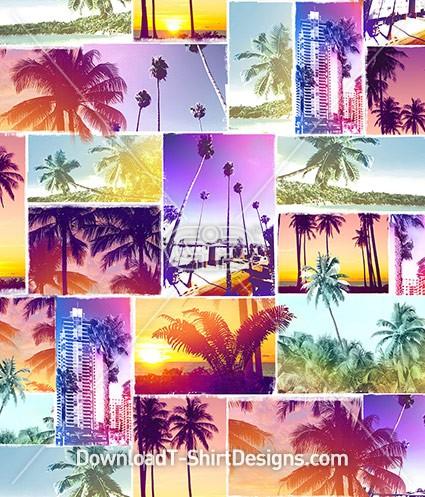 Miami Beach Tropical Collage Seamless Pattern