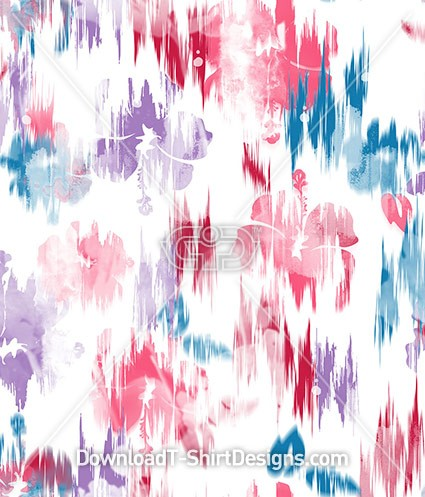 Digital Glitch Hibiscus Floral Seamless Pattern