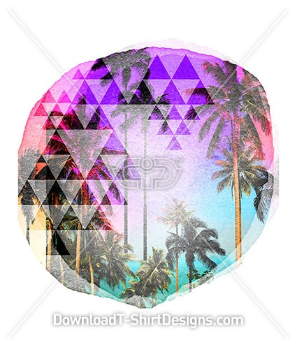 Watercolor Circle Tropical Beach Palm
