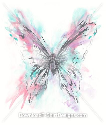 Pastel Watercolor Splash Butterfly