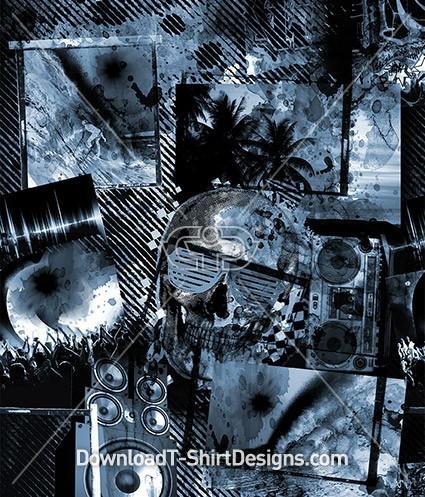Grunge Surfer Skull Music Speaker Seamless Pattern