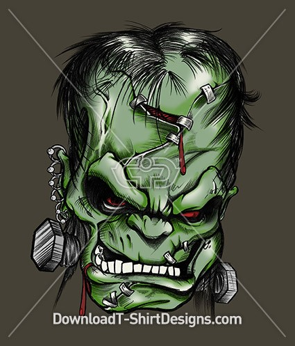 Scary Angry Frankensteins Head Monster