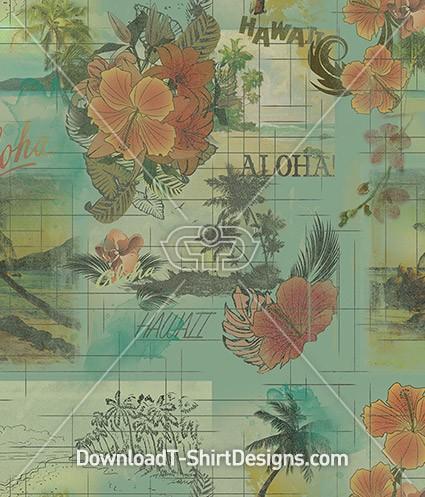 Vintage Aloha Hawaiian Seamless Pattern