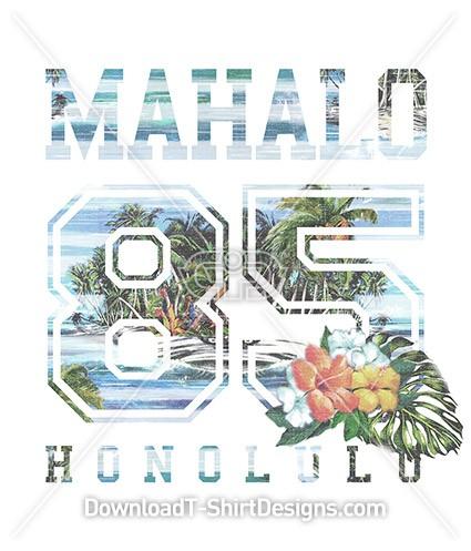 Mahalo Vintage Tropical Island Collegiate Number
