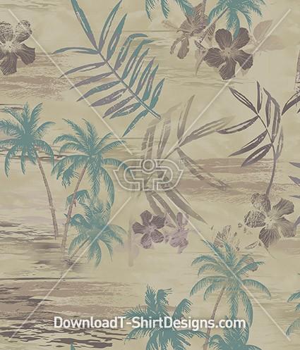 Vintage Palm Leaf Seamless Pattern