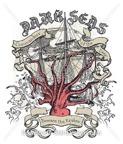 Dark Seas Pirate Ship Kraken Sea Monster