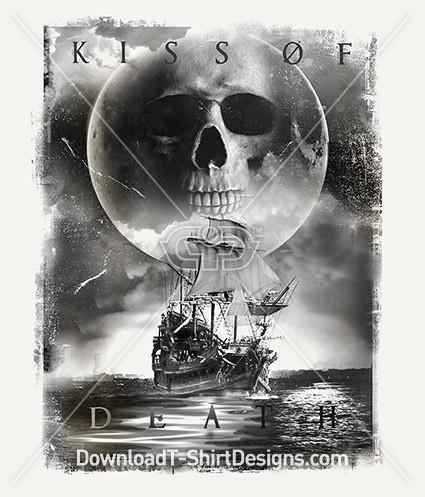 Kiss of Death Pirate Ship Skull Moon