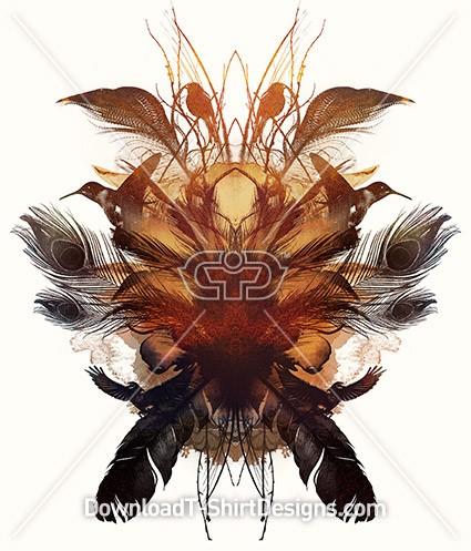 Mirrored Bird Feather Collage
