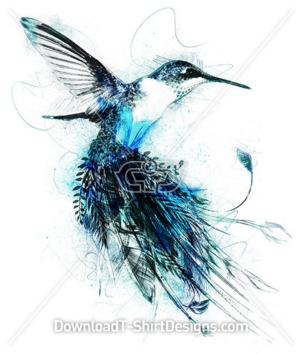 Watercolor Blue Humming Bird Feather Tail