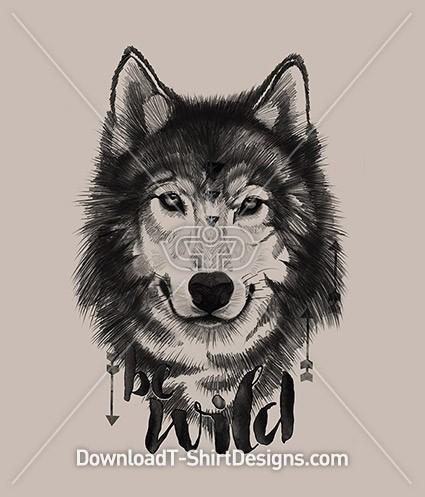 Be Wild Illustrated Tribal Wolf Animal Portrait