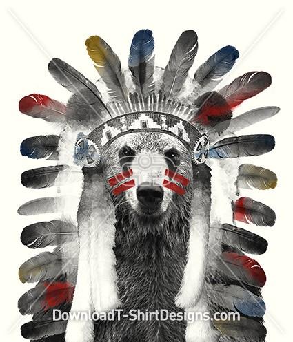 Indian Tribal Feather Headress Bear Animal Head