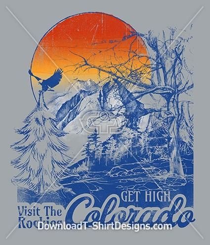 Retro Colorado Mountain Wilderness Tourist Poster