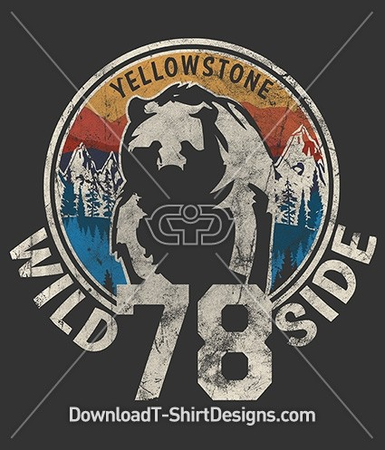 Retro Wild Side Yellowstone Mountain Bear