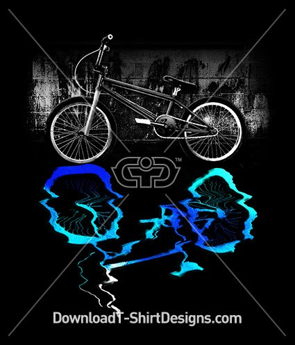 BMX Bike Sport Blue Colored Reflection