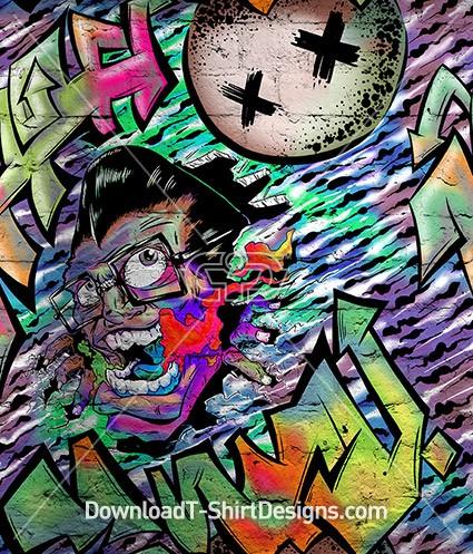 Crazy Graffiti Type Face Pattern Seamless Pattern