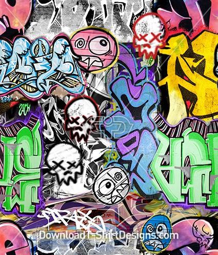 Crazy Graffiti Colorful Mashup Seamless Pattern
