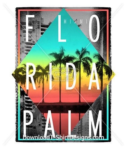Florida Miami Sunset Palm Trees