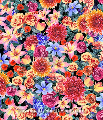 Extreme Bright Floral Collage Seamless Pattern