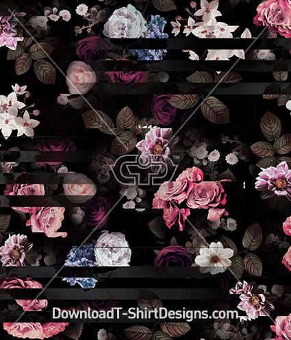 Broken Line Dark Floral Rose Seamless Pattern