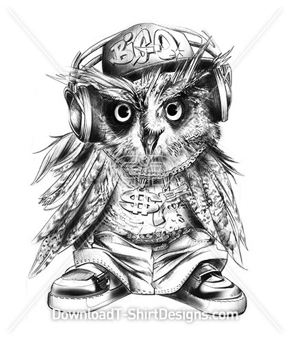 Hip Hop Headphones Gangster Owl Illustration