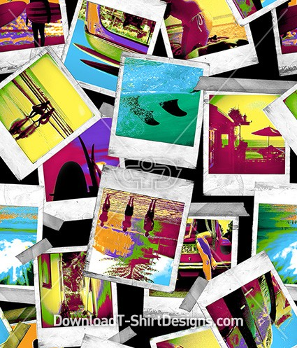 Bright Color Surf Beach Polaroid Seamless Pattern