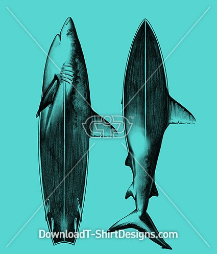 Illustrated Shark Surfboard Fin