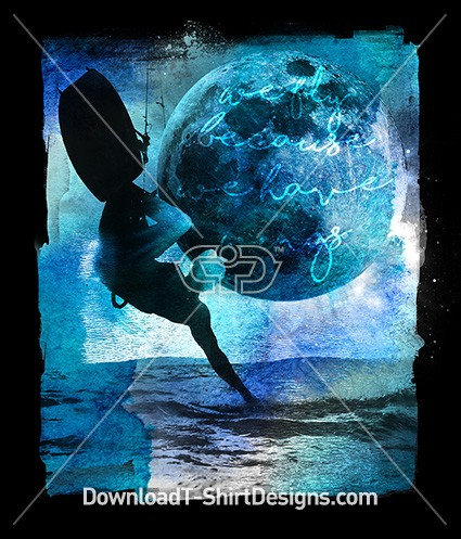 Blue Watercolor Kiteboard Surfer Waves Moon