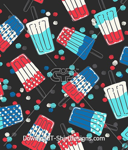 Retro Popsicle Watercolor Spot Seamless Pattern