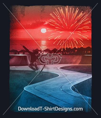 Sunset Firework Skateboard Beach