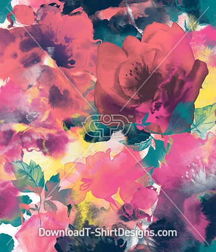 Abstract Painted Watercolor Floral Seamless Pattern