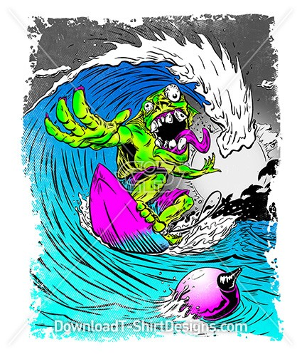 Psychedelic Monster Surfer Wave Cartoon
