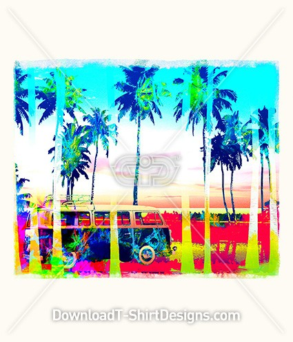 Psychedelic Palm Tree Beach Surf Van