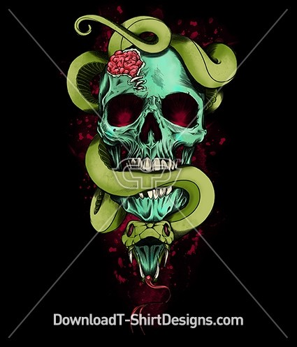 Zombie Brains Skull Python Snake Blood