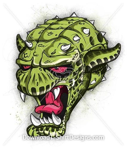 Scary Reptile Monster Head