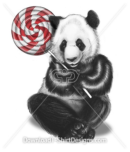 Cute Illustrated Panda Cuddling Candy Lollipop