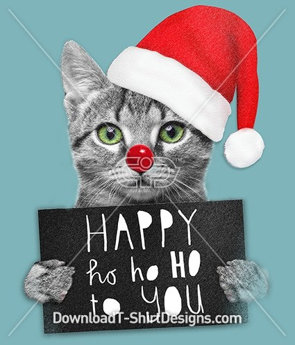 Happy Ho Ho Christmas Festive Kitten