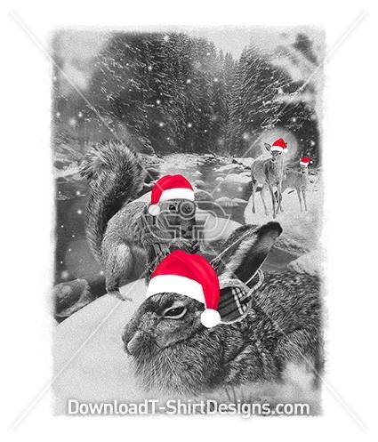 Winter Woodland Christmas Animals Snow