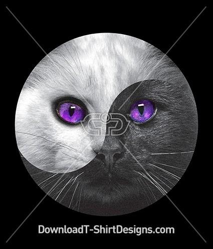 Cosmic Eyes Ying and Yang Kitten Cat