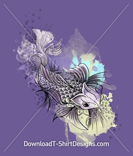 Illustrated Japanese Watercolor Koi Fish