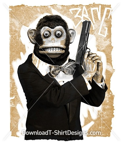 Gangster Monkey Animal Man Gun
