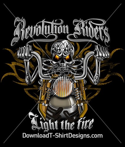 Motorcycle Revolution Riders Skeleton Tattoo