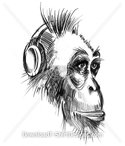 Monkey Animal Music Headphones Sketch