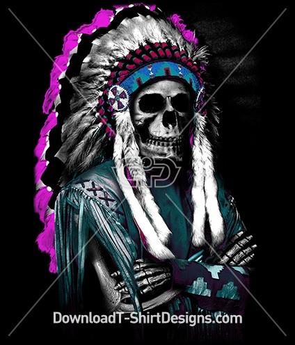 Indian Headdress Feathers Skeleton