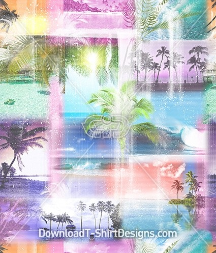 Pastel Gradient Tropical Island Seamless Pattern