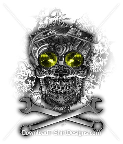 Motor Engine Skull Tool Cross Bone